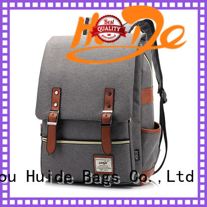 Huide fashion canvas casual backpack with wheels for guys