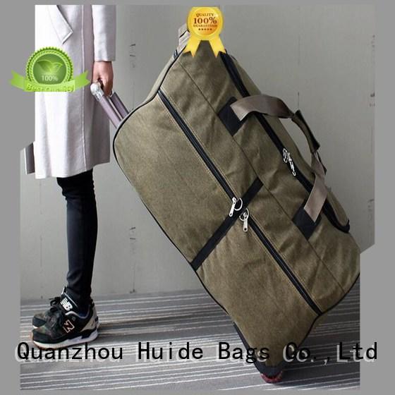 Huide professional custom soft duffel bag with wheels ten big brand for office