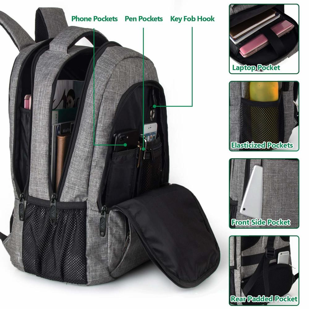Travel laptop briefcase anti-theft slim USB charging school backpack bag