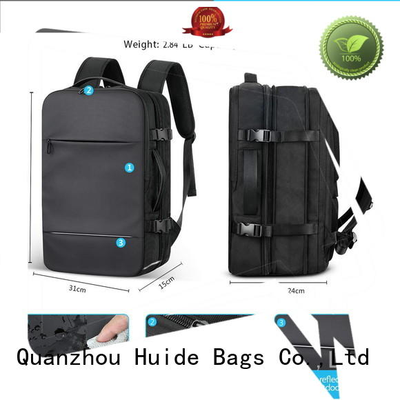Huide best leather best backpack for business use with charge for men